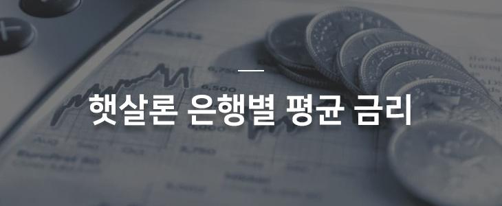 햇살론 은행별 평균 금리